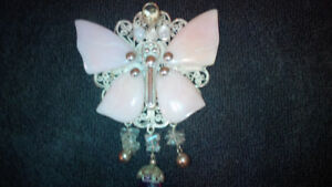 Ilaria Coral and Amethyst Silver Butterfly Pendant/Pin