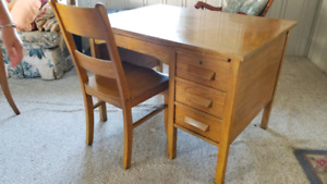 Solid Oak antique desk & chair.