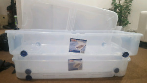 3 unused under bed storage bins