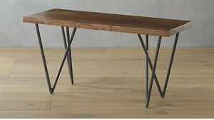 "CB2 Metal and wood 36"" bench"