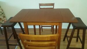 Pub Style Kitchen Table with 2 Chairs and 2 Stools