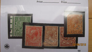 Lot(9) Timbres Grande-Bretagne king george v