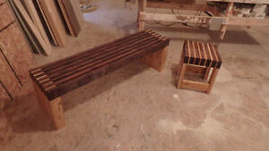 Two-Toned Cedar Slat Bench and Side Table/Seats