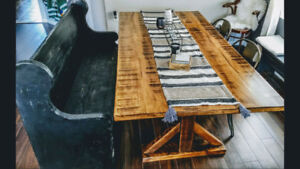 Custom Distressed Farmhouse Table & Classic Pew Style Bench