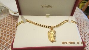 14k Jesus Pendent and 24 inch chain