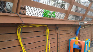 Pressure treated deck and chain link gate for removal