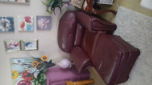Free leather chair & ottoman