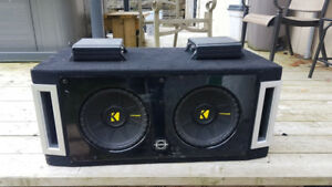 "2x 10"" Kicker Subs With Box and 2x 250W Alpine Class D Amps"