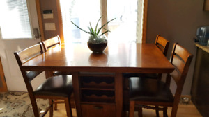 Large Bar Table & 4 Bar Chairs for Dining