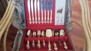 Vintage  8 piece setting 24 K pg  Silverware and chest