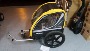Two seater bicycle carriage or push stroller. Combo
