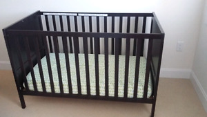 IKEA crib,  Sundvik,  black-brown with mattress and fit sheets