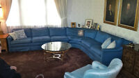 18' MEDITERRANEAN BLUE SECTIONAL COUCH