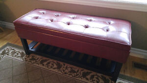 AS NEW – upholstered bench with storage hall, window