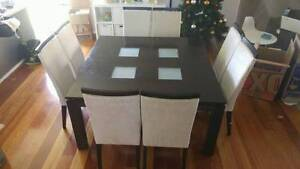 8 wooden dining chairs cream suede upholstered & Dining Table West Leederville Cambridge Area Preview
