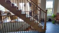 Finition intérieur escalier,rampe,plancher,porte