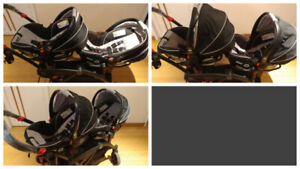 TWIN DOUBLE Contours Stroller with 2 Graco Car Seats *NEW PRICE*