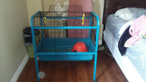 Large cage for small animals (not mice/hamsters) with accessorie