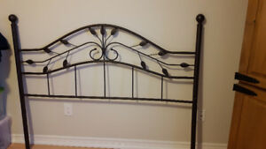 Queen size metal headboard grey with leaf design new