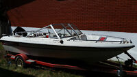 """Sunray 16"""" boat with 60 HP mercury motor and trailer..."""