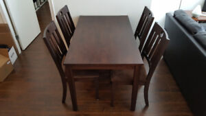 dining set (table + 4 chairs) dark brown espresso - $200