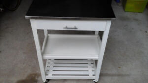 kitchen trolley on wheels with aluminium top, w shelves, drawer