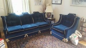 Vintage Royal Blue Valour Couch & Chair