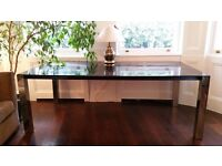 DINING ROOM TABLE black wooden top stainless steel excellent quality & contemporary italian design