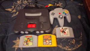 N64 system all wires 3 games Donkey Kong