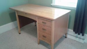 Solid Large Wooden desk with four drawers, large surface area