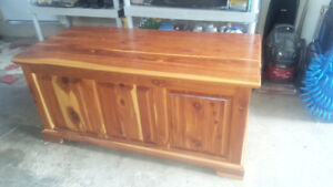 wood chest; stereo cabinets