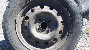 Two 175/65R/14 tires on 14x5.5 rims. $20 for everything.