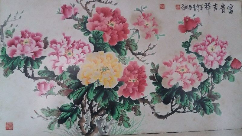 A BEAUTIFUL & ARTISTIC BRUSH PAINTING of LOVABLE PEONIES in Glass & Solid Wooden Frame - A BEAUTY