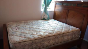 Queen bed frame with box spring and mattress