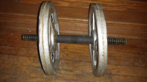 Threaded Dumbell with 2 10lbs Cast Iron Weights