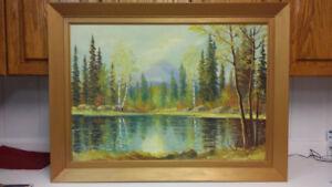 Listed Canadian artist E. Jalava landscape oil painting