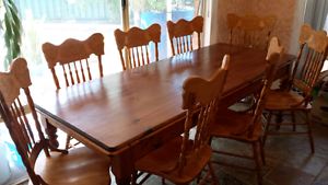 Table - Baltic Pine 230cm x 92cm + 8 chairs with carved backs ! East Victoria Park Victoria Park Area Preview