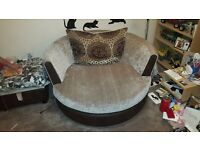 DFS snuggle chair & foot stool