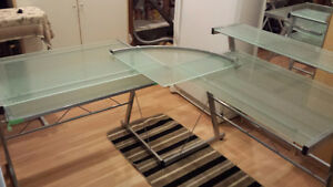 2 glass office desk