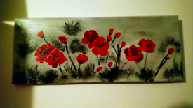 Red poppy painting on canvas