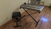 Yamaha Keyboard with stand, seat and headphones