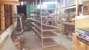 STEEL PARTS SHELVING 36 X 36 PANELS  $15.00  PLUS MORE SHELVES