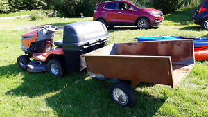 Husqvarna Lawn Tractor with dump trailer and large grass catcher