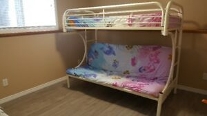 Metal bunk bed frame upper twin lower double