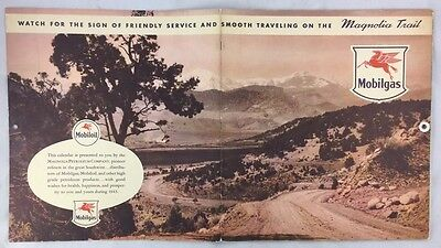Full Year Antique 1943 Mobil Gas Oil Southwest Large Fold Out Calendar