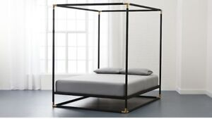 Modern Black and Gold Canopy Frame Queen Bed # Gorgeous