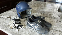 YOUTH CLEATS, BATTING GLOVES, HELMET
