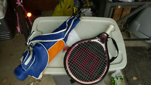 Pink junior tennis racket with cover brand new