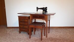 Rare Complete Singer Sewing Machine Center, Cabinets & Accs. OBO