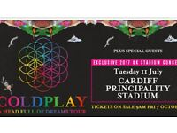 Coldplay Tuesday 11th July sold out Cardiff Stadium x2 tickets